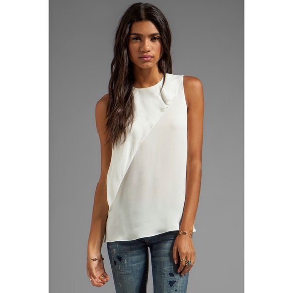 Theory Charelle White Silk Tank